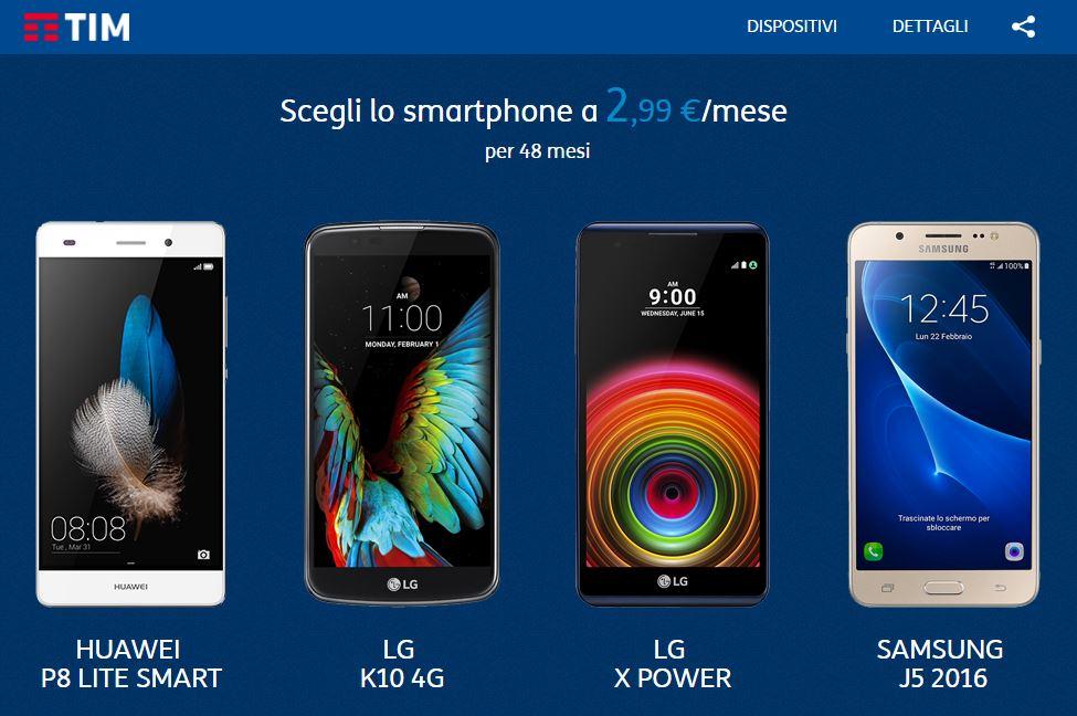 Smartphone 2,99€ al mese tim offerta gennaio 2017