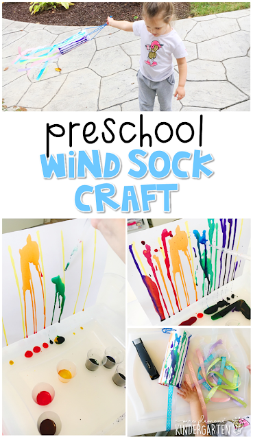 This windsock craft turned out so cute and was a great combination of art and science learning for our weather theme. Great for tot school, preschool, or even kindergarten!