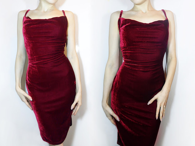 spaghetti strap velvet bodycon long short dress review picture outfit of the day liz breygel