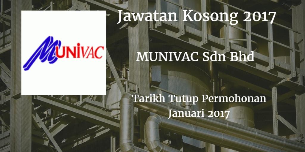 Jawatan Kosong MUNIVAC SDN BHD.Januari 2017