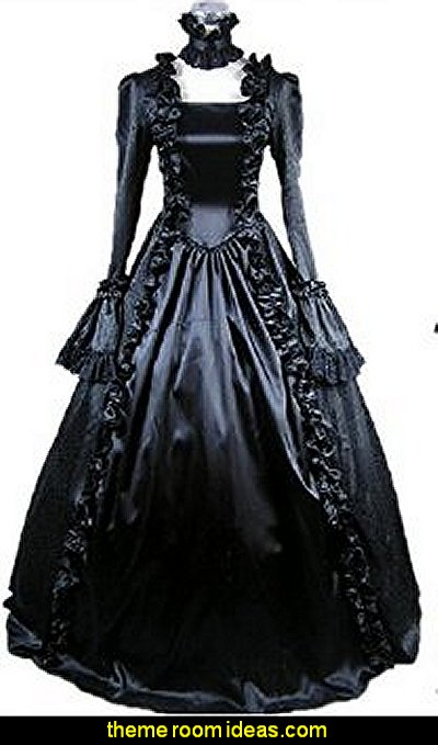 Gothic Lolita Victorian Cosplay Dress Black Long Sleeve
