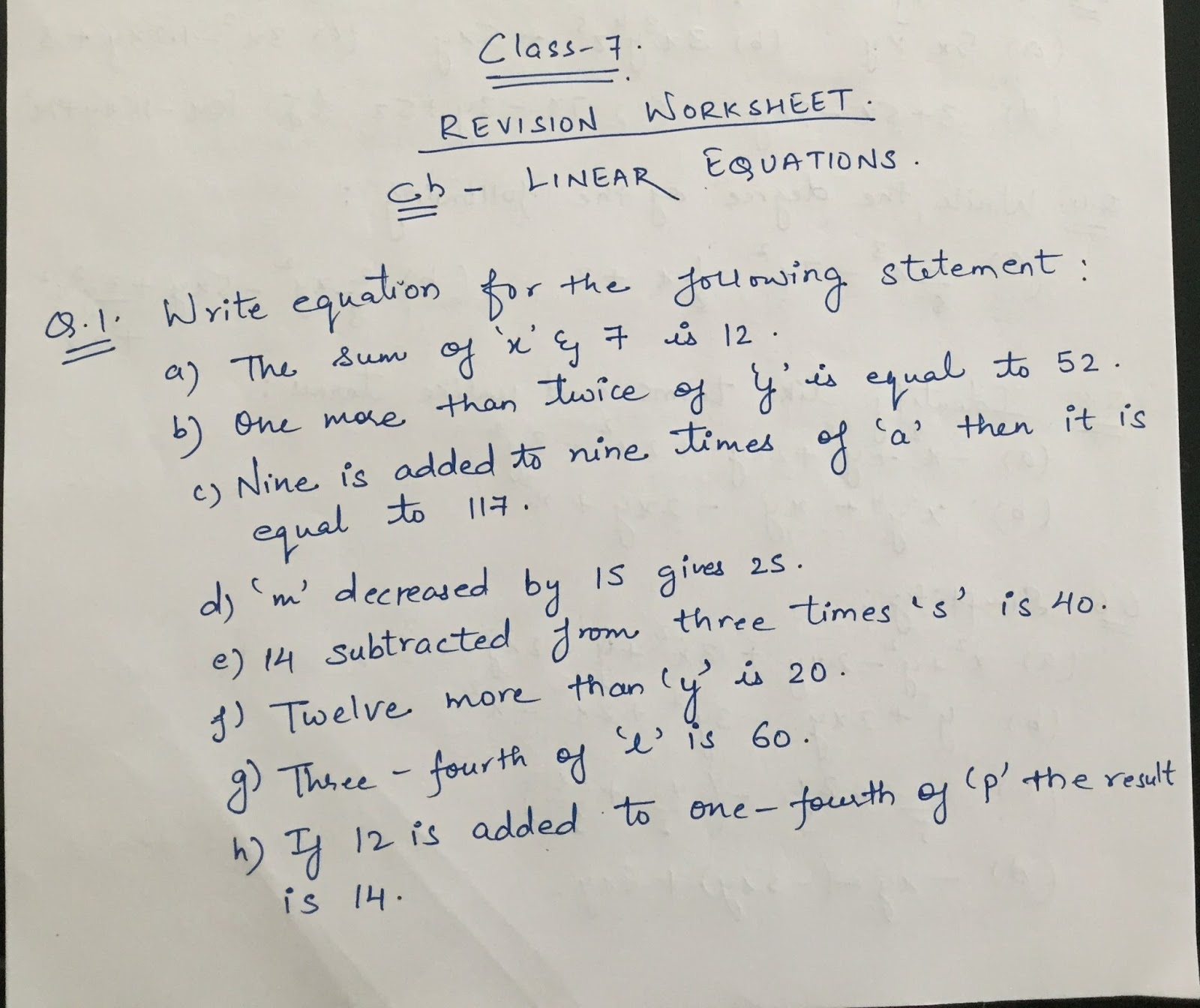 APS, Golconda | Priyanka Gupta: CLASS 7 / MATHS / REVISION WORKSHEET ...