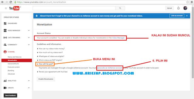 Daftar Akun Adsense Youtube 4 Arieshp