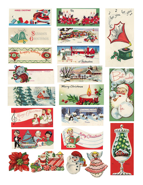 Holiday gift tags free printables retro modern geeky rays of vintage christmas tags from the cheeky seagull negle Image collections