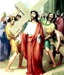 Dibujo de Jesús cargando su cruz