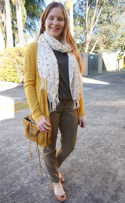 mustard cardigan, star print scarf, green tee and olive skinny cargo pants micro regan bag | awayfromblue