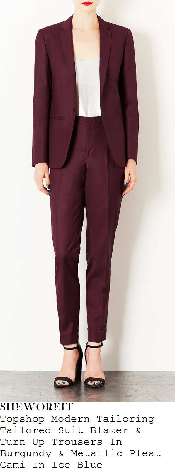 caroline-flack-burgundy-purple-suit-x-factor