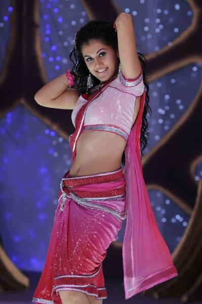 Tapsee Hot Navel Show Photos In Pink Half Saree