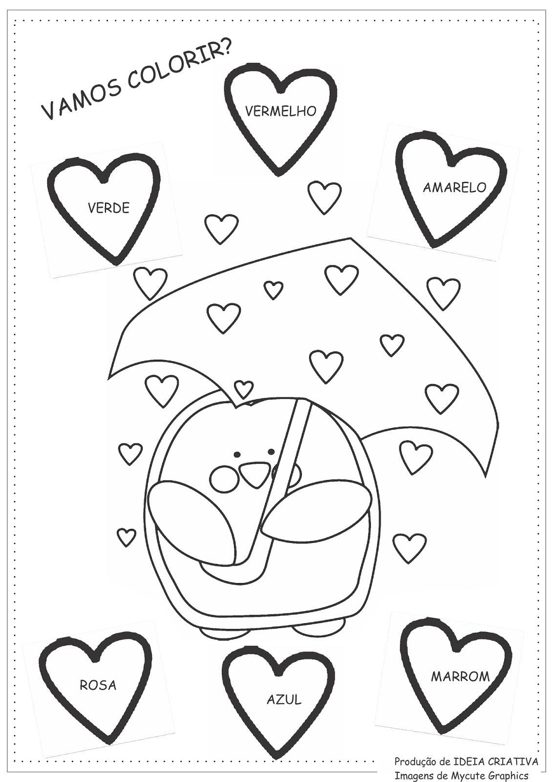 Amado Atividades Cores Educação Infantil O Pinguim | Ideia Criativa - Gi  CJ23