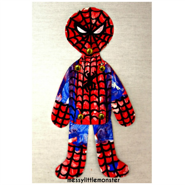 Split pin spiderman craft idea for kids