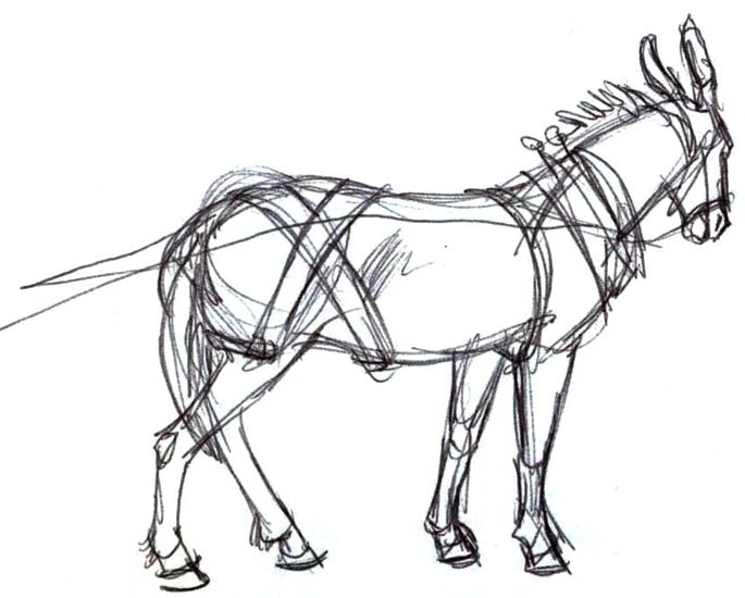 Art by Jeane Nevarez: mule in harness