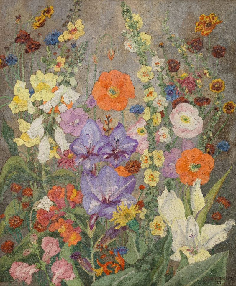 Summer flowers in a landscape. Cedric Morris, 1927. Flores de verano en el paisaje