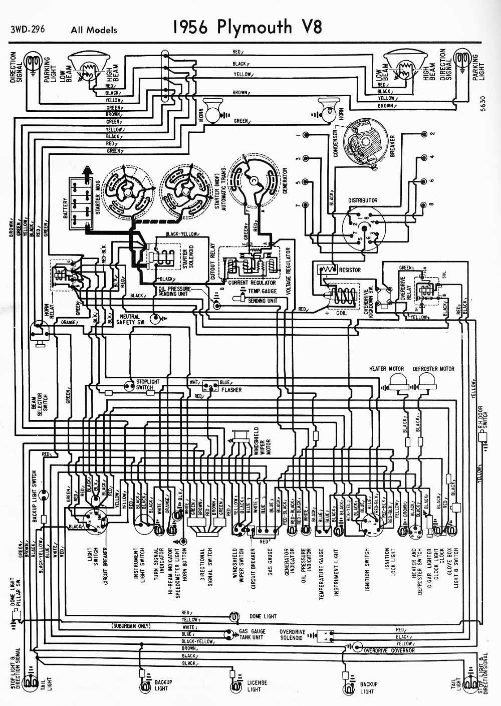 1956 Plymouth V8 All Models Wiring Diagram