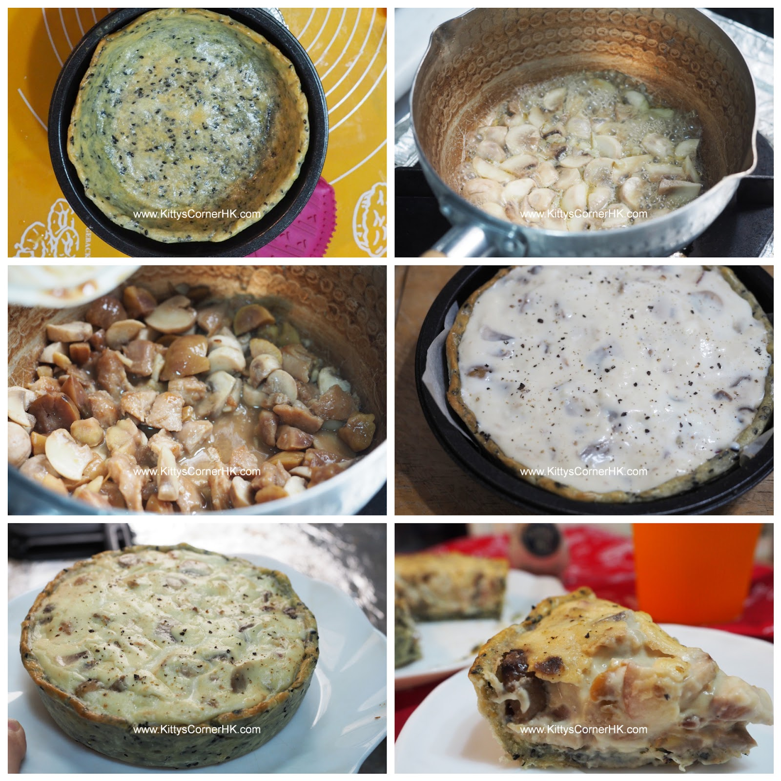 Mushroom Chicken Chestnut Quiche DIY recipe 栗子蘑菇雞鹹批自家烘焙食譜