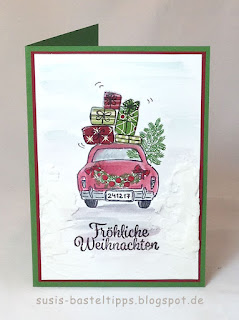 Paper Piecing Technik (Papierstückeln) - ein Videotutorial mit dem Stempelset Wonderful life (Hochzeitskarte und Weihnachtskarte) Geschenke Auto von unabhängiger Demonstratorin in Coburg