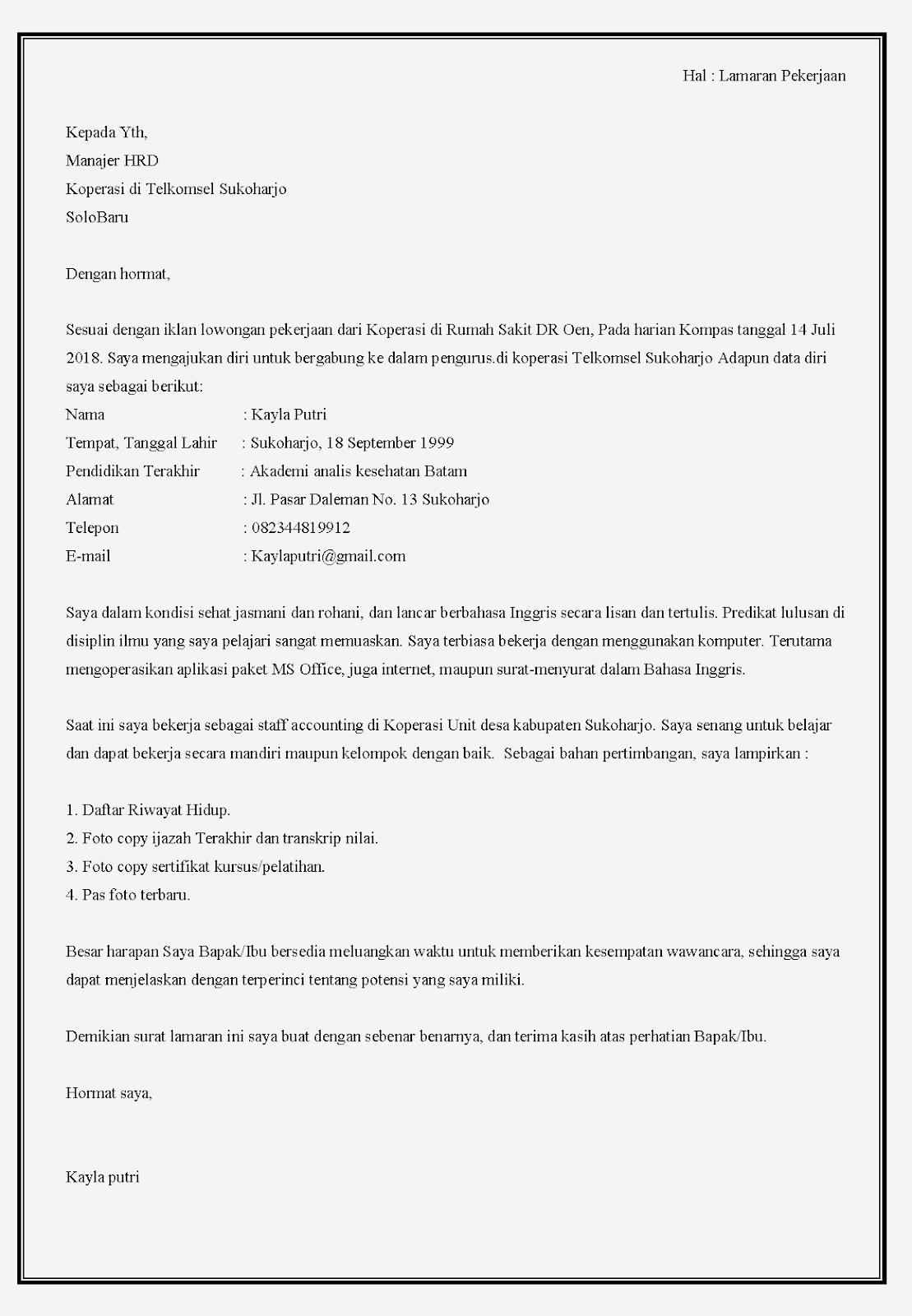 Contoh surat lamaran kerja koperasi Telkomsel