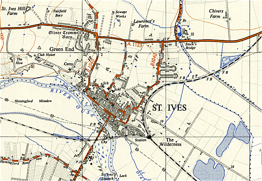 Map of St Ives, Cambridgeshire 1956