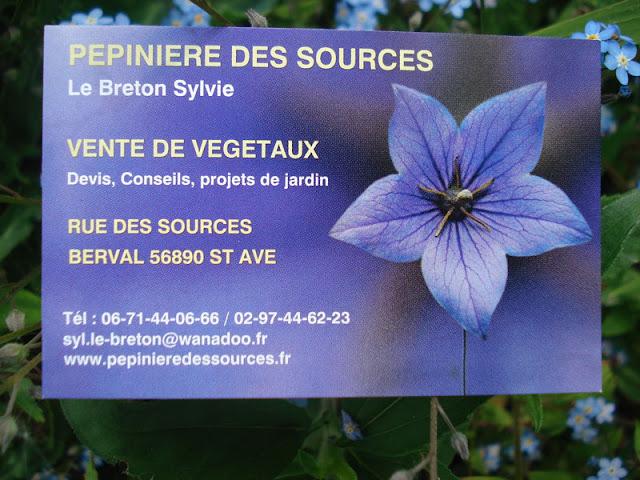 ♥PUB : Pépinière des Sources - 56 Saint Avé - BERVAL-MEUCON VANNES MORBIHAN 56