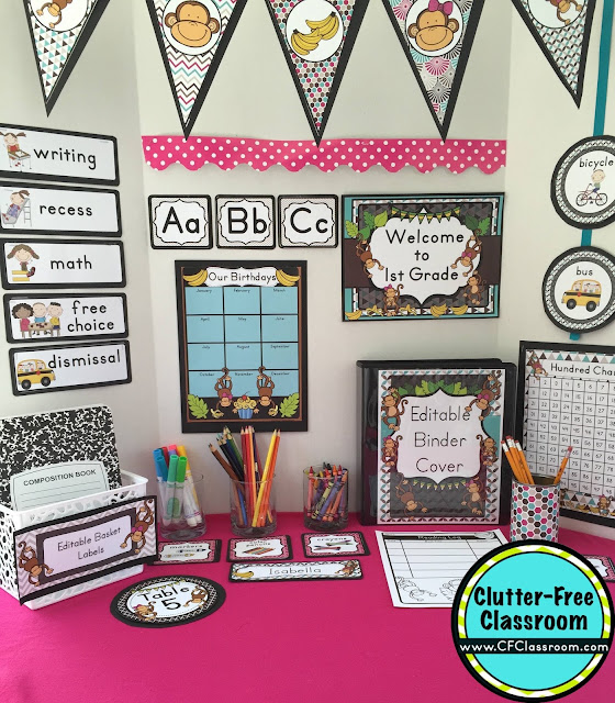 Classroom Decoration Printables Free ~ Monkey themed classroom ideas printable