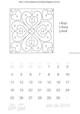 Calendario 2016 colores según numeros abril