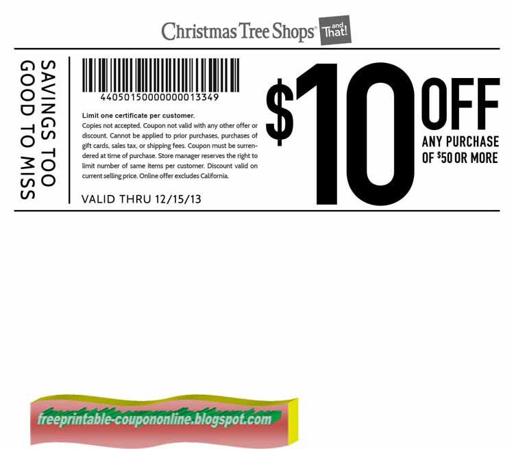 Christmas Tree Shop Coupons Printable