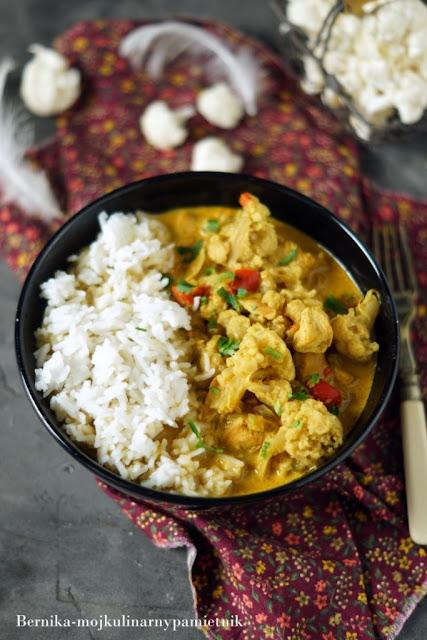 curry, kalafior, kurczak, obiad, bernika, kulinarny pamietnik, wege