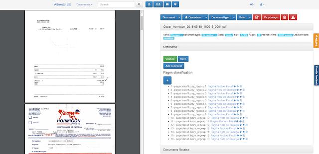 clasificación de documentos por página Athento SE