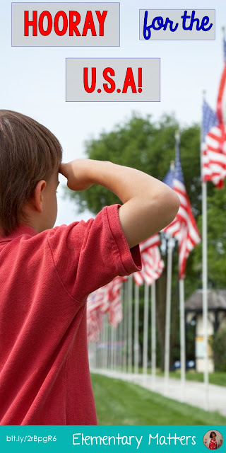 Hooray for the USA! This post has ideas, book suggestions, videos, and a freebie to help you celebrate patriotic holidays in the classroom!