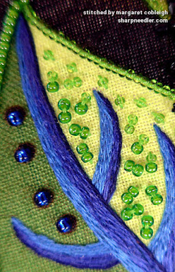 Green bead filling on Wild Child leaf using two different shades of green. (Wild Child Japanese Bead Embroidery by Mary Alice Sinton)