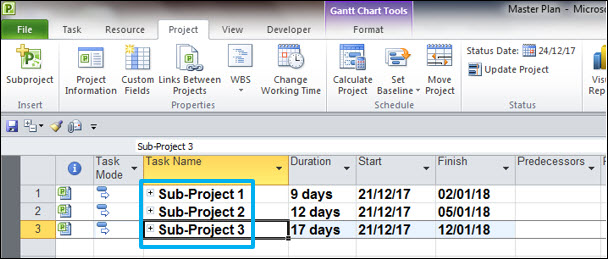Master Project Plan - Microsoft Project Subprojects
