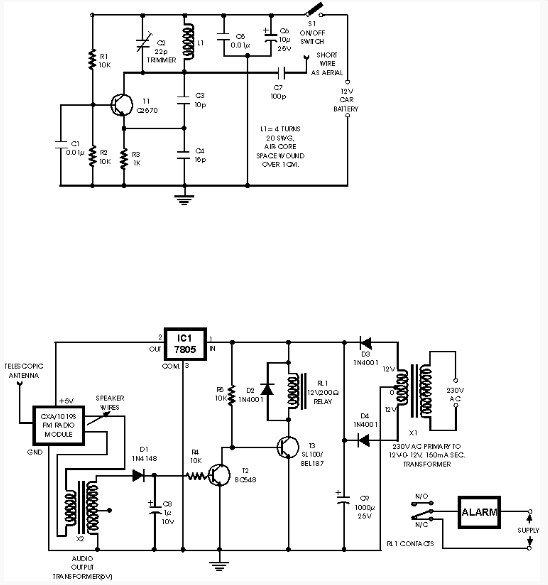 circuit diagram car anti theft wireless alarm using