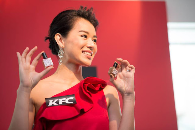 KFC, Myolie Wu, curiosity, edible nail polishes, fried chicken nail polish, fried chicken taste, Original, Hot & Spicy, creative marketing, creativity, weird beauty products, Hong Kong