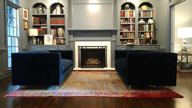 Pair of Indigo Velvet Modern Sofas