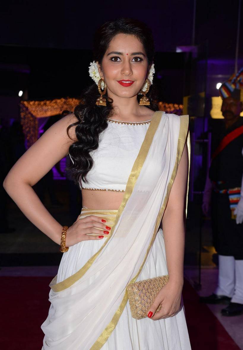 Rashi Khanna Stills At Wedding Reception In White Half Saree