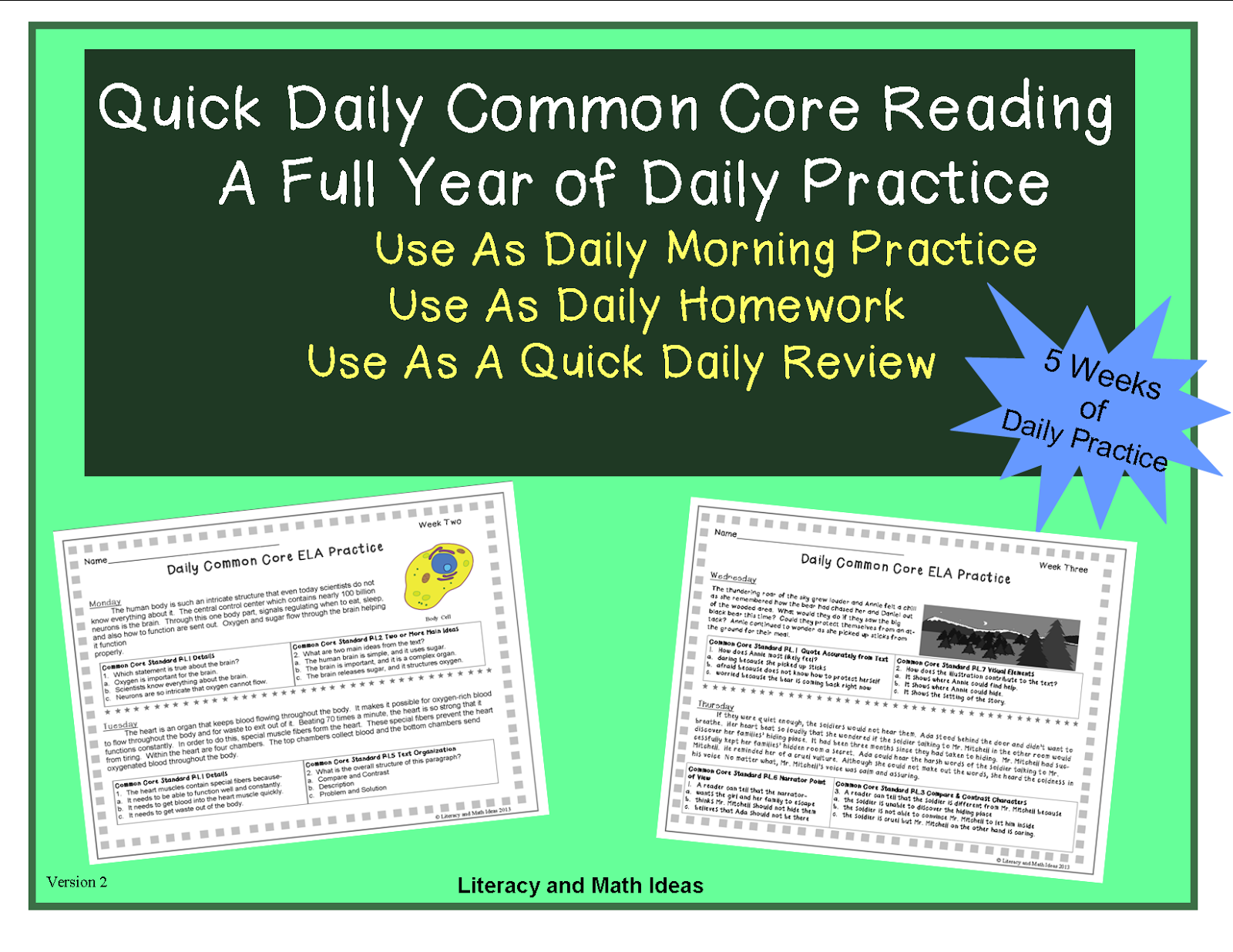 Literacy Amp Math Ideas Common Core Daily Morning Reading