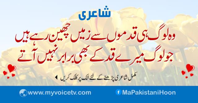 خوبصورت اردو شاعری :  وہ لوگ ہی قدموں سے زمیں چھین رہے ہیں