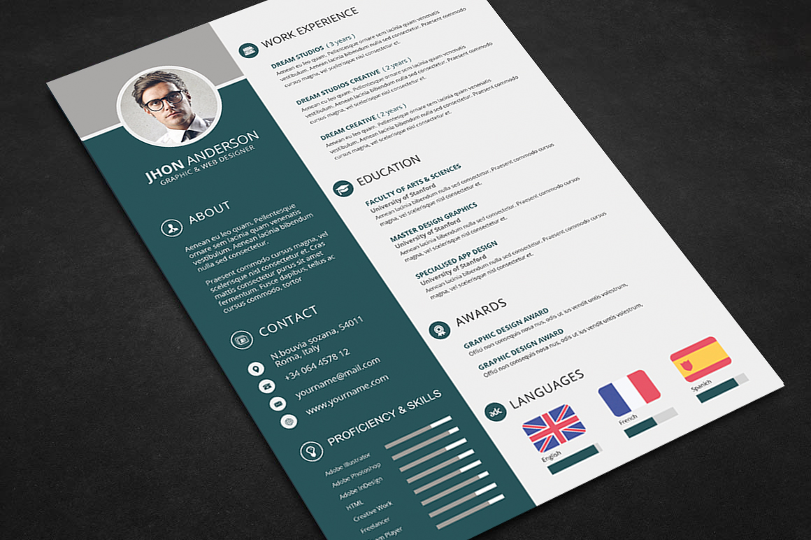Professional Resume CV Template Free PSD Files
