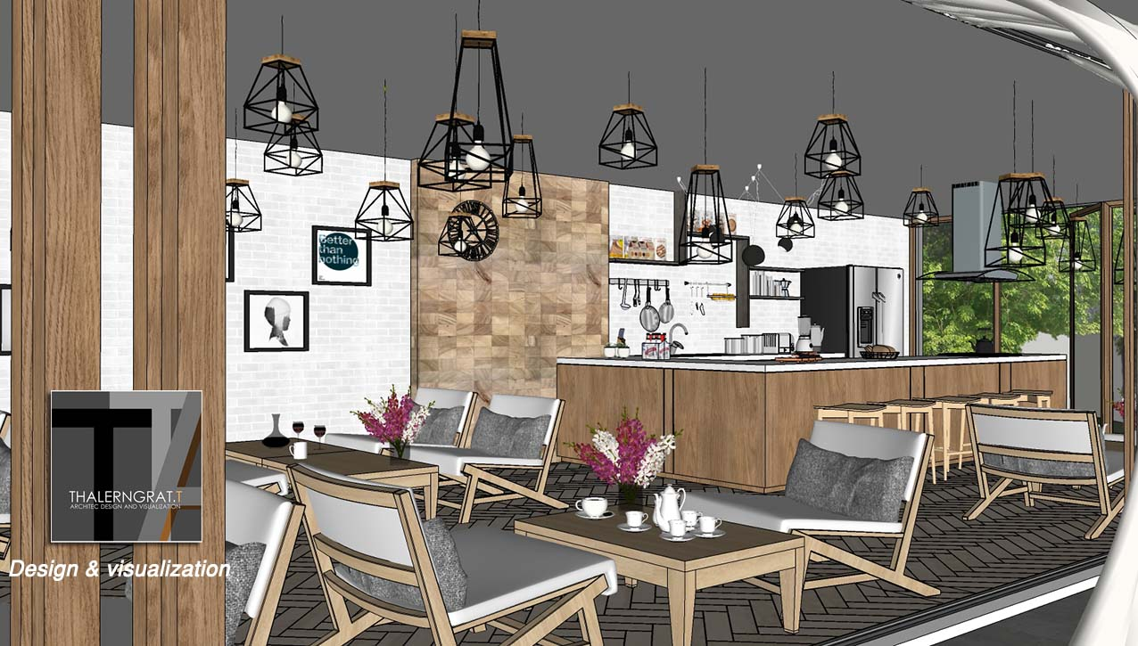 sketchup 3d model  modern coffee shop bar # 9 image sketchup jpg extract - interior view