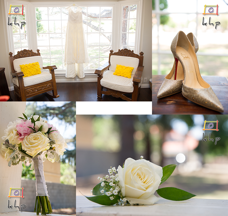 Wedding gown, the shoes, the bouquet and the boutonniere