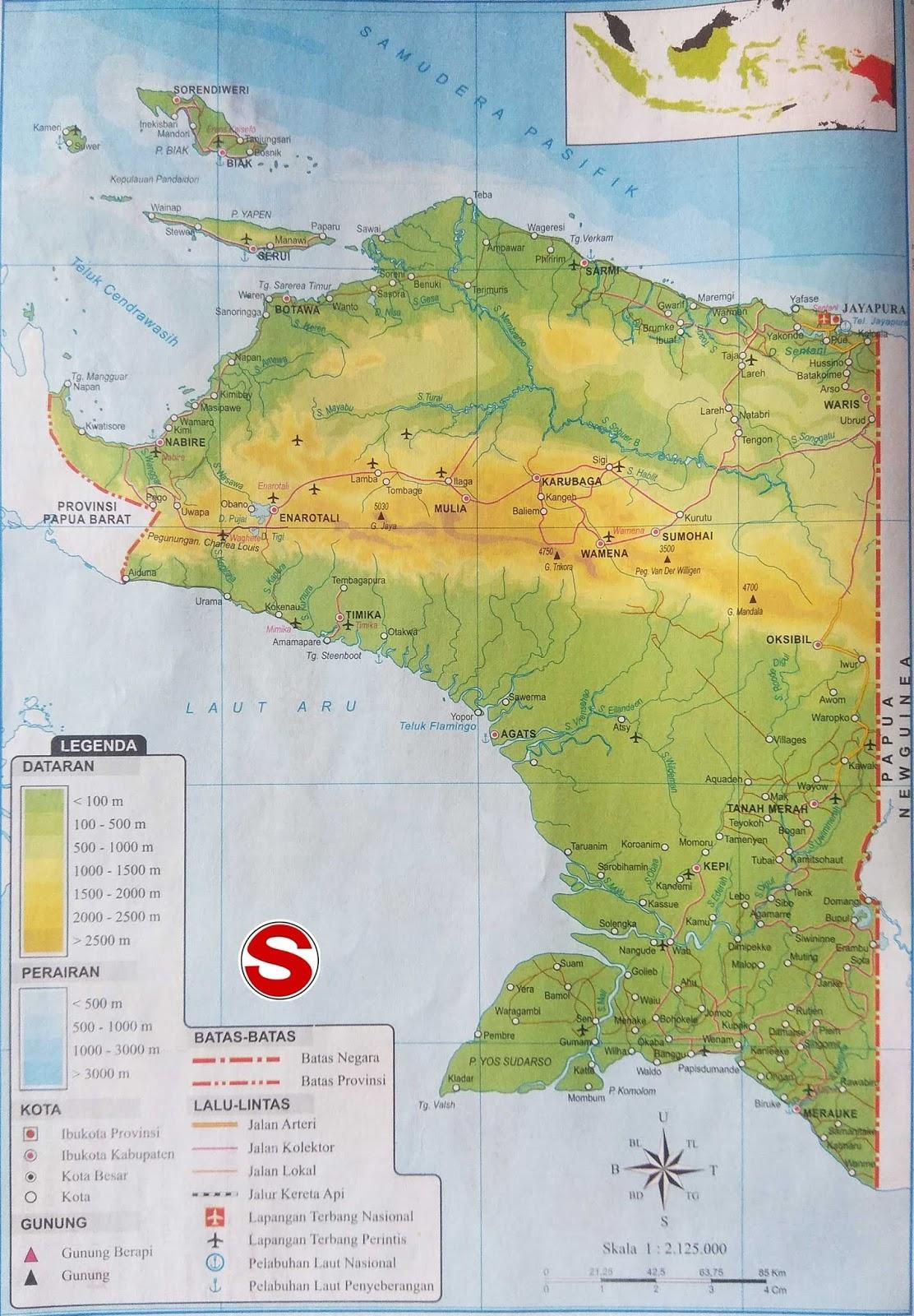 Peta Atlas Provinsi Papua di bawah ini mencakup peta dataran Peta Atlas Provinsi Papua