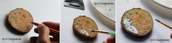 disegnare e colorare su dischi di legno