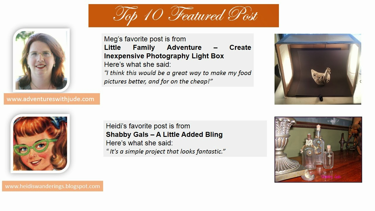 Top 10 Post Features. Meg picked Create Inexpensive Photography Light Box. Heidi picked A little Added Bling Bottles.