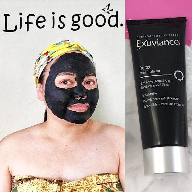 wearing Exuviance Detox Mud Treatment