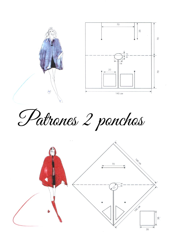 ponchos, patrones, costura, labores