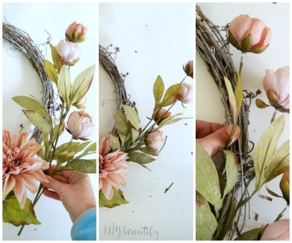 wire florals to wreath form