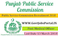 Punjab Public Service Commission Recruitment 2018– 306 Medical Officer