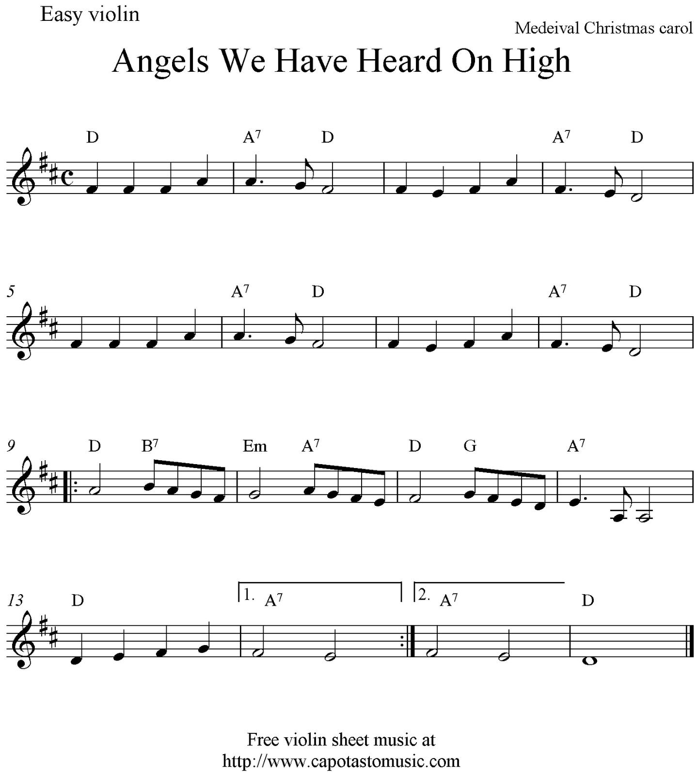 Angels We Have Heard On High, Free Christmas Violin Sheet