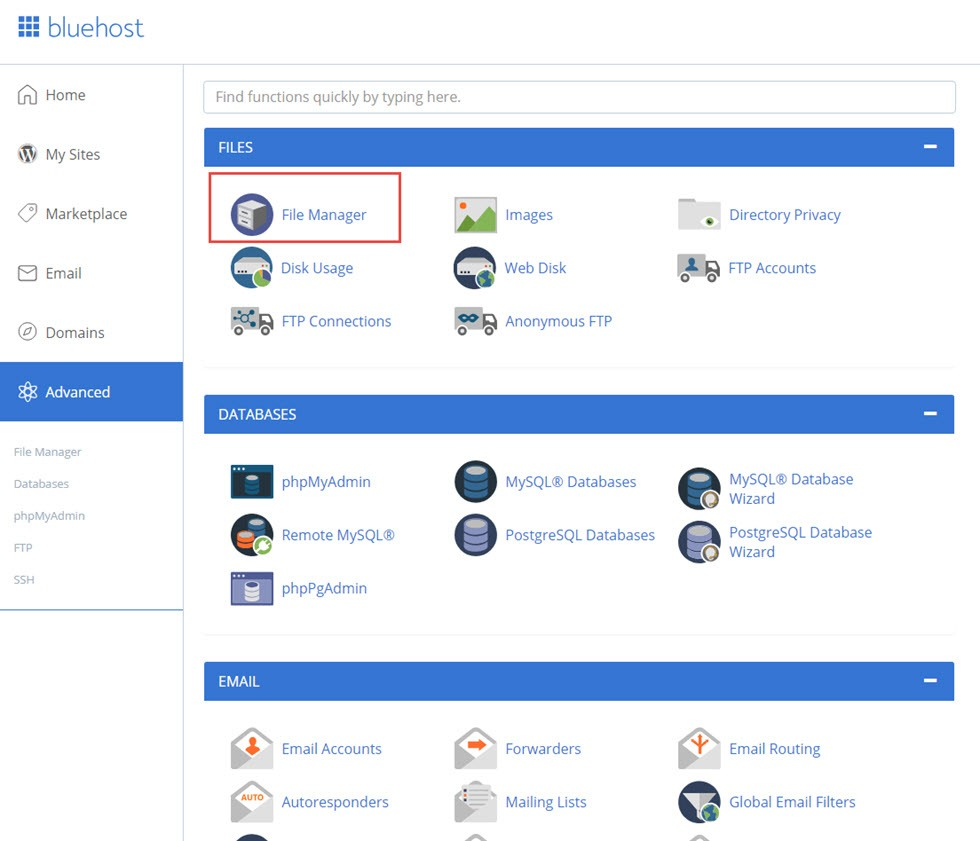 file manager trong bluehost