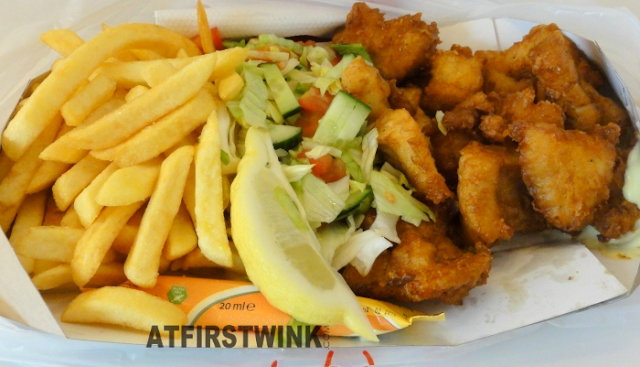 Markthal food review: Kibbeling (pieces of fried fish), salad, and fries set from Royal Fish, Markthal in Rotterdam