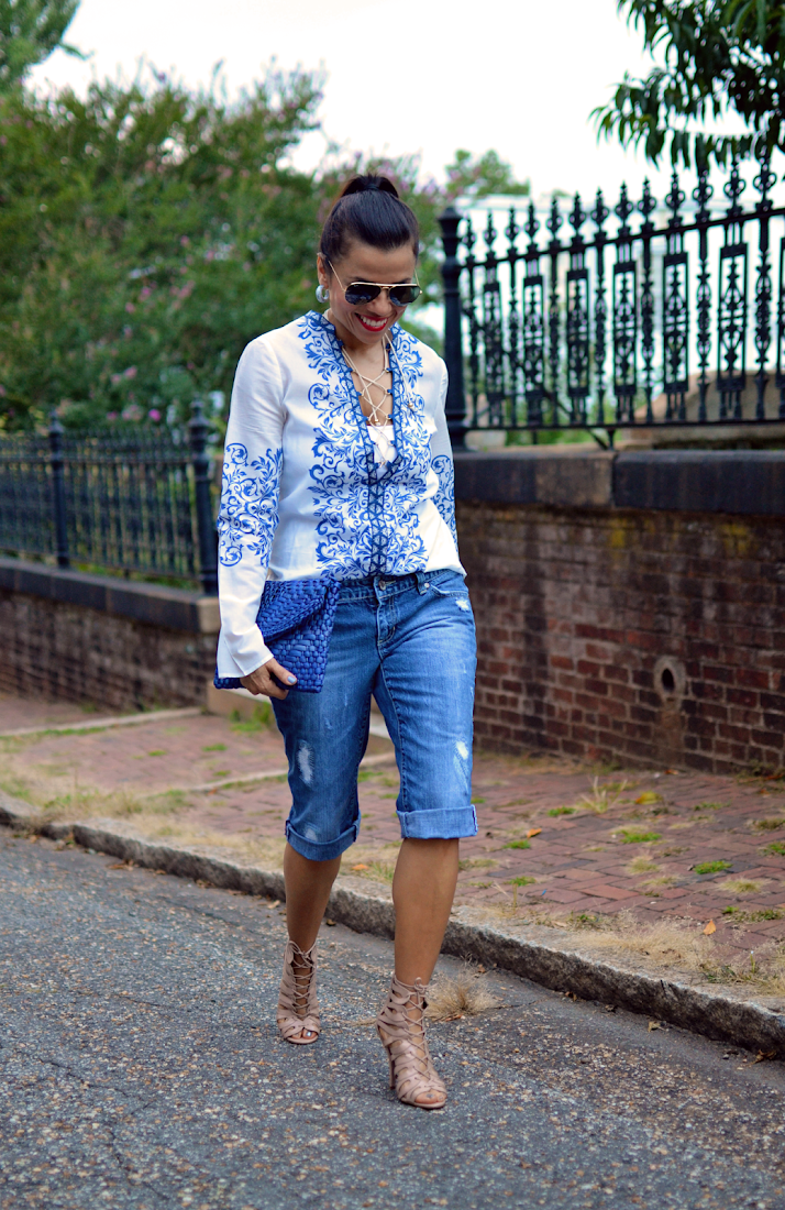 Bermuda Denim Shorts Outfit Look